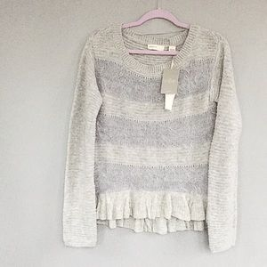Anthropologie Gray Striped Wool Blend Sweater